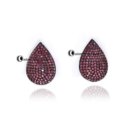 925 Sterling Silver Pave Diamond Earrings, Diamond Stud, Stud Earring, Blue Sapphire Oval Earring, Tsavorite Studs, Ruby Studs Earring Jewelry