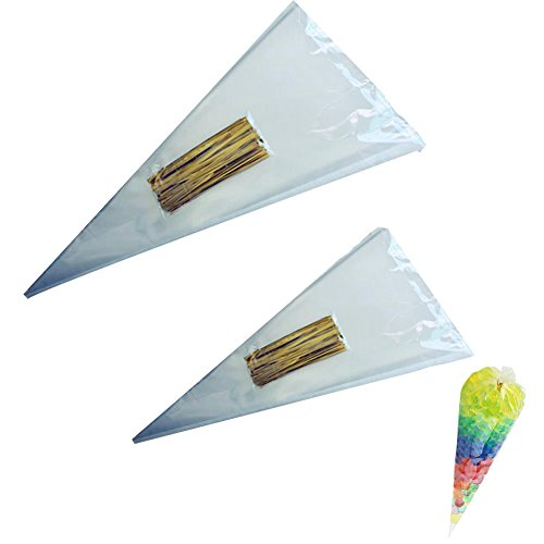 Cellophane Bags, 200 Pieces Opp Cone Treat Bags Clear Triangle Bags with Gold Twist Ties for Christmas Party Snacks Candy Cookies DIY Gifts(14.5