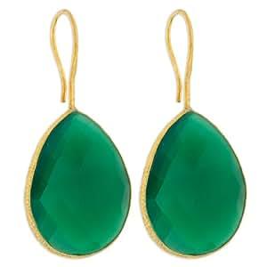 Amazon.com: Gold Plated Green Onyx Teardrop Earrings 925
