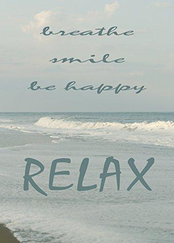 Inspirational Photo, Relaxing Art, Breathe, Smile Be Happy Quote Art Print, Beach Decor, Ocean Photograph, Beach Cottage Wall Art, Coastal Picture, Beach Bedroom Wall Art, Bathroom Decor