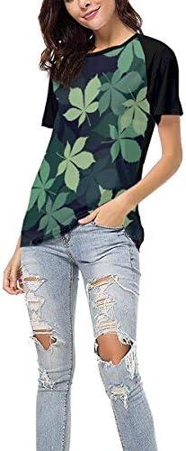 Mädchen Mode T-Shirts Leaves Patterns Baseball Kurzarm Shirt Frauen Sport Tee Sommer Tops