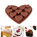 Longay Love Heart Shaped Silicone Molds Fondant Cake Chocolate Mold