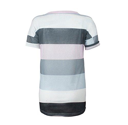 Tongshi Mujeres Sun Impresa Blusa Sin Mangas Chaleco Camiseta Blusa Casual Tops Tank Gris