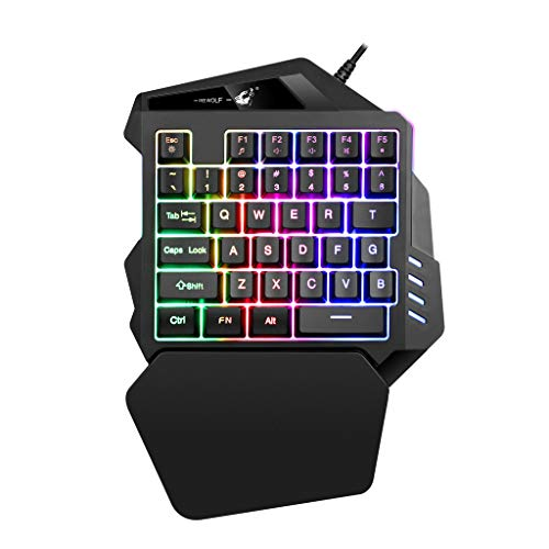 4d5a949f7c6 HAHAP K13 One-Handed Gaming Keyboard, LED Backlit Portable Mini Wired Game  Keypad for