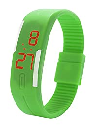 Gracefulvara Kids Boy's Girl's Young Fashion Thin LED Rubber Bracelet Digital Wrist Watch Green