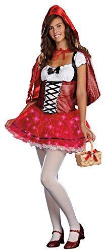 UHC Teen Girl's Little Delight Light-Up Riding Hood Fancy Dress Halloween Costume, Teen L (11-13) (Little Red Riding Hood Halloween Costume Teenager)