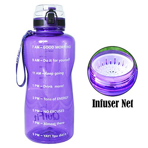 QuiFit Sport Water Bottle with Time Marker, Locking Flip-Flop Lid,Large Capacity Outdoors Tritan Sport Water Jug,Non-Toxic BPA Free & Eco-Friendly (Light Purple, 64 oz) (Recyclable Water Jug)