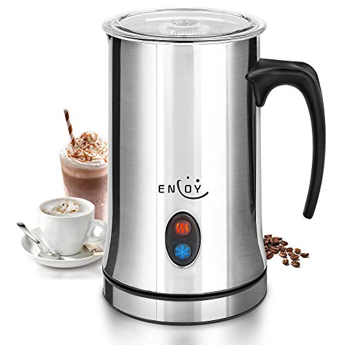Milk Frother, ENLOY Electric Milk Frother and Warmer, Stainless Steel Automatic Hot and Cold Foam Maker for Latte, Hot…