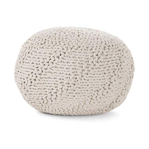- GDFStudio 299701 Haley Indoor/Outdoor Fabric Weave Pouf (Ivory),