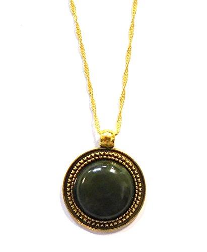 - Irish Connemara Marble: Round Gold- Plate Pendant by J.C. Walsh & Sons