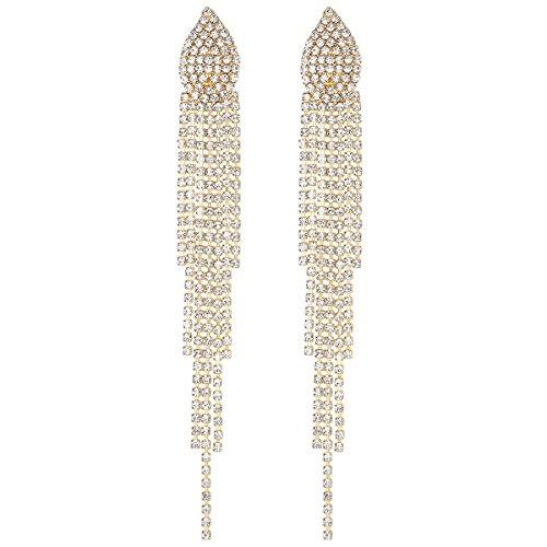 mecresh Bridal Gold Crystal Tassel Wedding Earrings for ()
