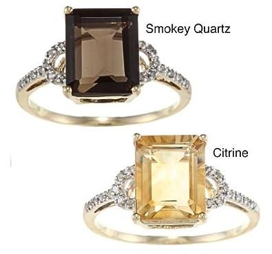 10k Yellow Gold Octagon Citrine and Diamond Ring 1//8 TDW