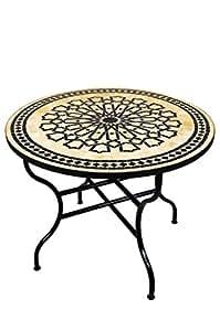 Original marroquí mosaico mesa Jardín Mesa de 100cm de diámetro grande redondo plegable | redonda plegable mosaico comedor Mediterran | como mesa plegable para terraza o jardín |