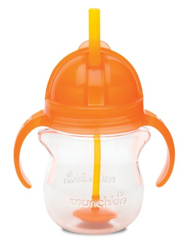 (Munchkin Click Lock Weighted Flexi Straw Trainer Cup, Orange, 7 Ounce)