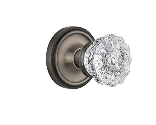 Nostalgic Warehouse Classic Rosette with Crystal Glass Door Knob, Single Dummy, Antique Pewter (Glass Door Knobs With Lock)