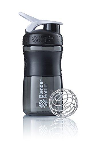 BlenderBottle SportMixer Tritan Grip Shaker Bottle, Transparent Black/White, 20-Ounce