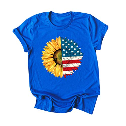 COOKI Women's American Flag Sunflower Print Tee Shirts Short Sleeve 4th July T-Shirt Blouse Graphic Print Casual Tee Tops
