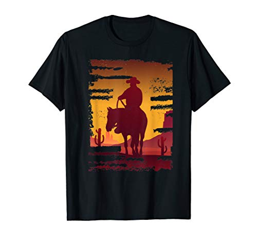 (Saddle western cowboy T-shirt Retro Vintage Western Sunset)