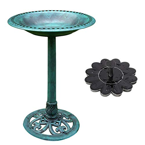 Fountain Set - VIVOHOME Polyresin Antique Outdoor Green Garden Bird Bath and Solar Powered Sunflower Pond Fountain Combo Set