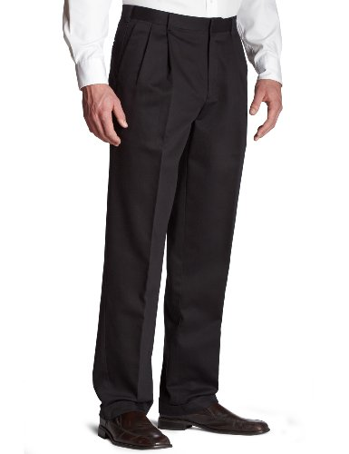 Dockers Men's Never Iron Pleated Pant, Black - discontinued, 38W x 34L
