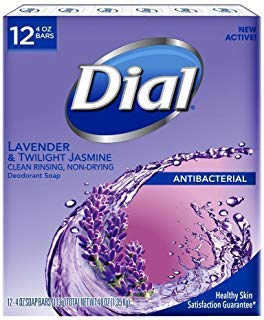 Dial Lavender And Twilight Jasmine Bar Soap, 12 Count (Best Antibacterial Bath Soap)
