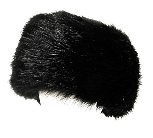 - La Carrie Women's Faux Fur Hat for Winter with Stretch Cossack Russion Style White Warm Cap(Black)
