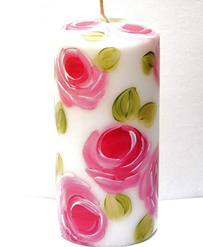 Painted Hand Roses Candle (Romantic Shabby Chic Decor Dripless Tall Decorative Large White Pillar Candle With Hand Painted Pink Roses)