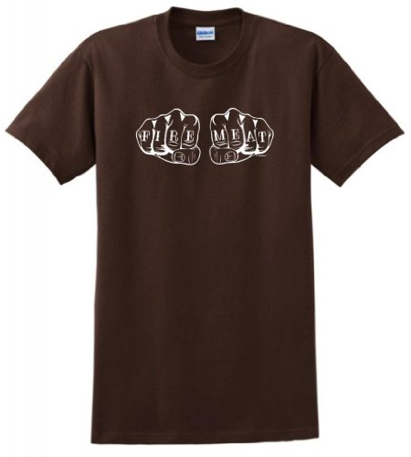 Fire and Meat Knuckles Tattoos Funny Grilling T-Shirt Medium Dark Chocolate