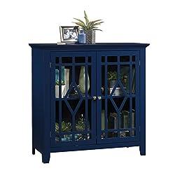 Home Bar Cabinetry Sauder Shoal Creek Display Cabinet, Indigo Blue finish home bar cabinetry
