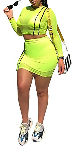 Speedle Women Sexy Two Pieces Outfits Solid Color Long Sleeves See Through Gauze Crop Top + Mini Skirt Set Yellow (Solid Gauze)