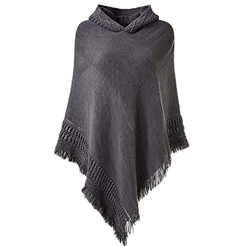 Sexy Panyan Ladies Hooded Cape with Fringed Hem, Crochet Poncho Knitting Patterns for Women D One Size