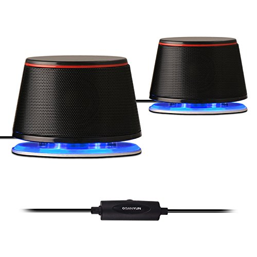 Sanyun SW102 Computer speakers, Metal Stereo 2.0 Small 10W PC Laptop Speakers, Built-in Bass Diaphragm, USB- Powered 3.5mm Aux Blue LED, Black