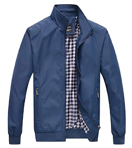 Solid EnergyMen Zip Outwear Collar Jacket Size Long Plus Stand Sleeve Blue Pocket wIZRI4