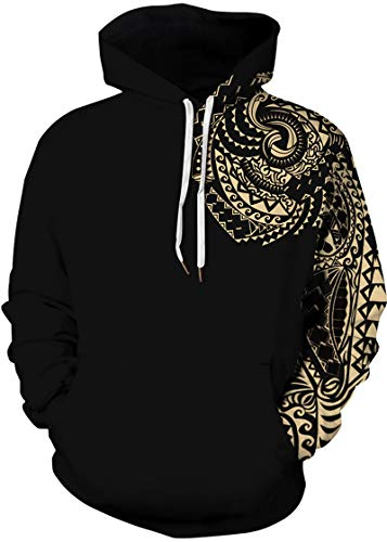 Hoodie Capuche Or Casual Homme Longues Sweat À Pochette Hiver Manches Totem shirts Fantaisie Tdolah Pull 1 Sweats f7R44w