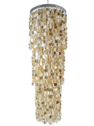 KOUBOO 1050006 Round King Chandelier With Round Capiz Seashells, 24