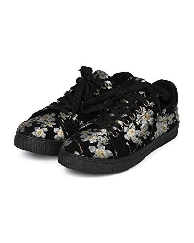 Alrisco Kvinner Brodert Cherry Blossom Lav Topp Snøring Sneaker - Hg71 Av Betani Samling Sort / Beige Mix Media