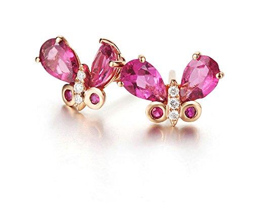 KnSam 18K Gold Earring for Women Butterfly Stud Earrings Sapphire Pear Shape Inlaid Rose Gold by KnSam (Image #2)