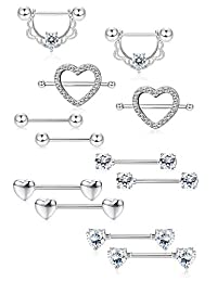 LOLIAS 6Pairs Stainless Steel Nipple Ring Piercing for Women Girls Nipple Studs Nipple Tougue Ring Piercing Barbell Barbell CZ Heart Shape Rings Body Piercing Jewelry
