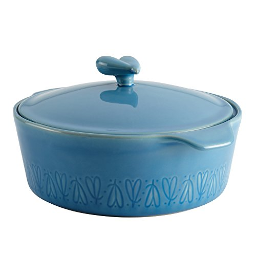 Small Round Covered Casserole - Ayesha Curry Home Collection Stoneware Round Casserole, 2.5-Quart, Blue