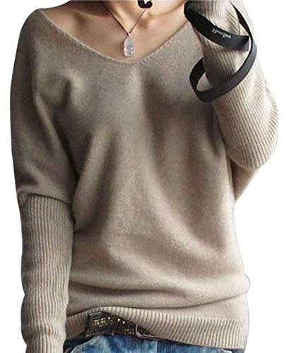 LinyXin Cashmere Damen Winter Kaschmir übergroße Pullover lose V-Neck Fledermausärmel Warm gestrickter Oversize Pullover aus Wolle