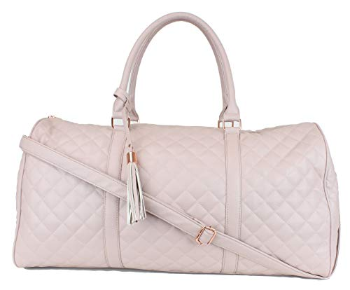 "Women's Quilted Leather Weekender Travel Duffel Bag With Rose Gold Hardware - Large 22"" Size - Cute Floral Satin Inner Lining - Dusty Pink"