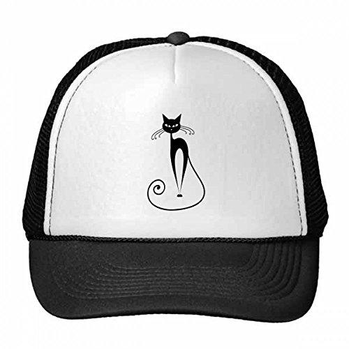 DIYthinker Long Tail Black Cat Pet Lover Animal Art Silhouette Trucker Hat Baseball Cap Nylon Mesh Hat Cool Children Hat Adjustable Cap Gift