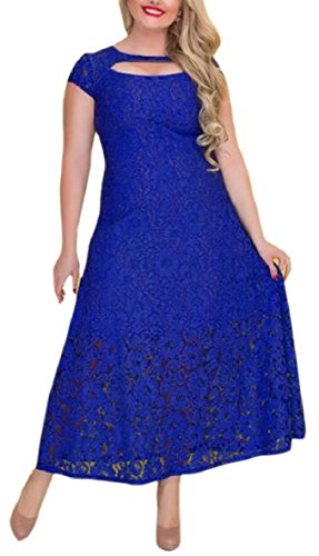 FLCH+YIGE Womens Lace Plus Size Bridesmaid Wedding Cocktail Party Maxi Dress 1 XL