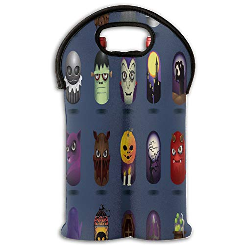Red Wine Sets Halloween Icons Set Red Wine Tote Bag Insulated Padded 2 Bottle Champagne Travel Bag for $<!--$16.00-->