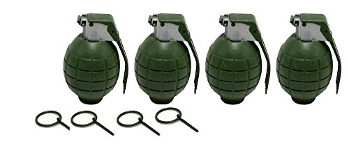 Lot of 4 GREEN Kids Toy B/o Hand Grenades for Pretend Play (Military Toy Guns)