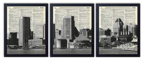 Baltimore Skyline 3 Piece Set Vintage Upcycled Dictionary Art Print (3 Pieces) 8x10 inches each print, Unframed ()