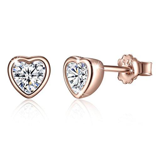 Bamoer Rose Gold Heart Earring with CZ Earrings Stud for Anniversary - Screw Earrings Rose