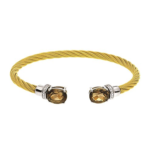 Stainless Steel+Silver with Yellow Finish Cuff Bangle with 10X8mm Smokey Quartz+0.03Ct.Diamond by BH 5 Star Jewelry