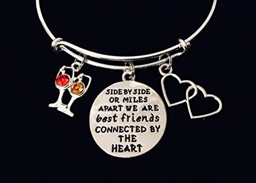 Side by Side or Miles Apart Best Friends Forever Connected by the Heart Adjustable Bracelet Expandable Charm Bracelet Silver Bangle Trendy Gift Wine Glasses BFF