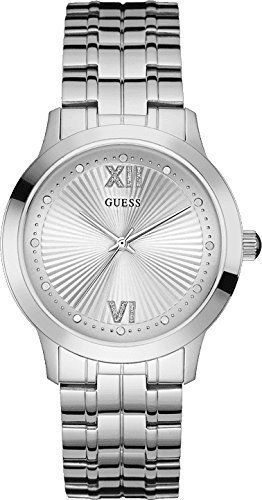 (GUESS Women's U0634L1 Vintage Inspired Dressy Silver-Tone Watch)